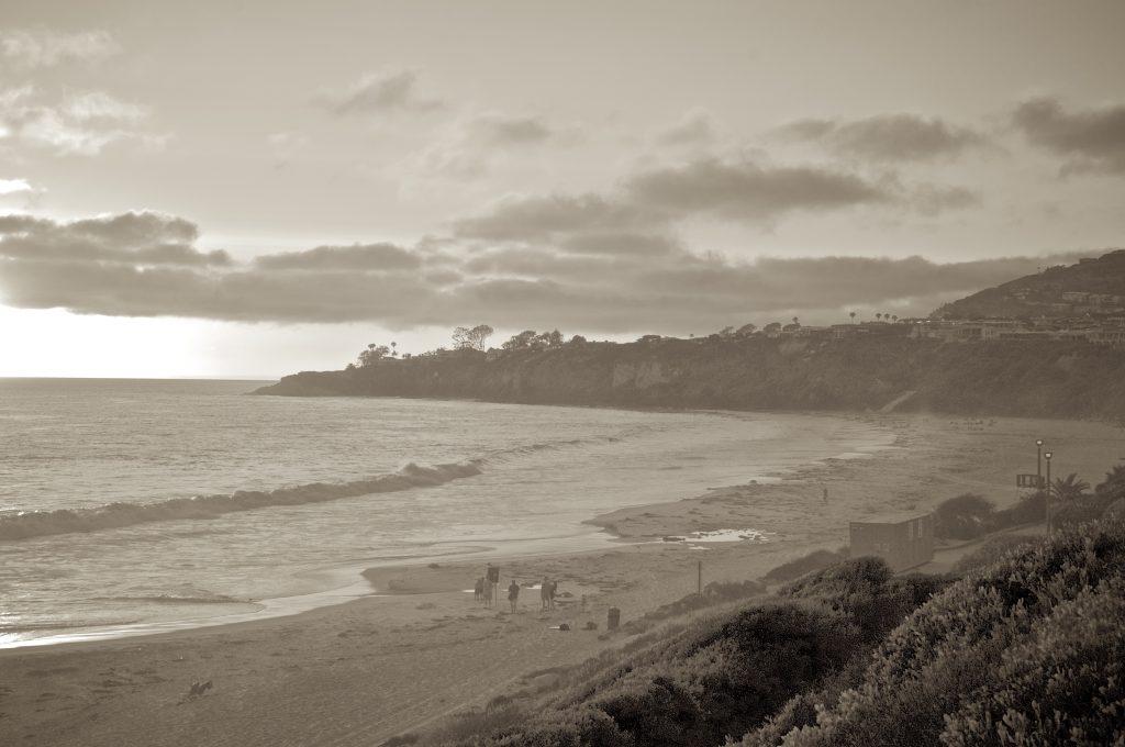 beach, sunset, Laguna Beach, clouds